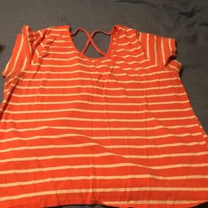 Coral orange and white striped shirt